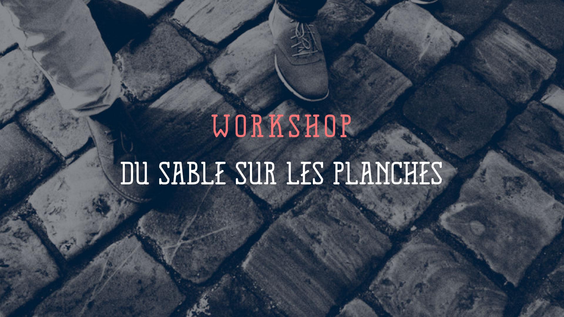 image couverture design sable sur les planches workshop